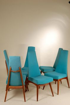 Set of 6 Mid Century Modern High Backed Blue