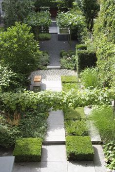 interesting city garden by Robert Broekema, Jos Verhorst, mix of  textures & surfaces in a predominately green garden, grasses & boxwood & gravel & stone