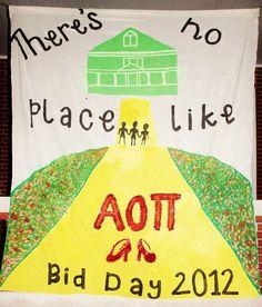 Alpha Omicron Pi bid day 2012 at East Carolina University. But HOMICRON, obviously.