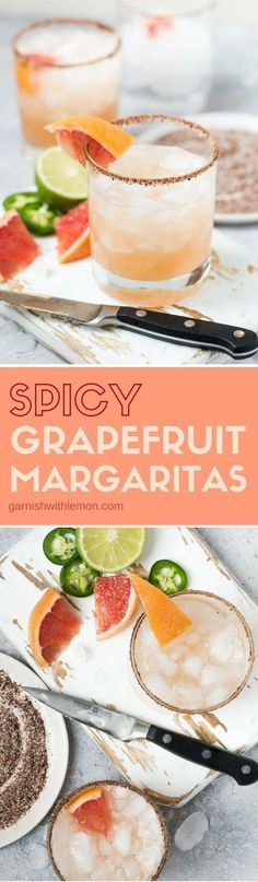 A pitcher of these Spicy Grapefruit Margaritas is a perfect batch cocktail for game day or happy hour! #tequila #margaritas #cocktails #margarita