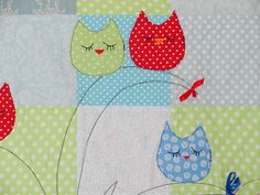 Owls on a tree applique quilt  baby boys quilt blanket blue and green kids quilt owl quilt owl blanket