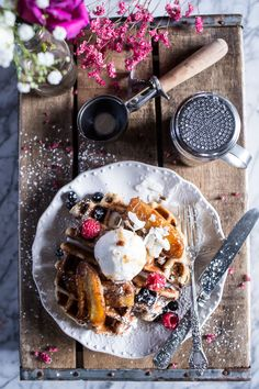 Whole Wheat Belgium Chocolate Chip Waffles with Coconut Caramelized Bananas.