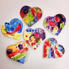 Kindergarten texture hearts clay elementary art