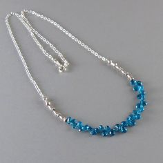 Apatite Chain Necklace Sterling Silver Tiny Briolette by DJStrang