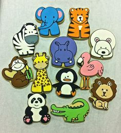 Zoo Party Animal Cookie Favors by ClawsonCookies on Etsy https://www.etsy.com/listing/128777705/zoo-party-animal-cookie-favors