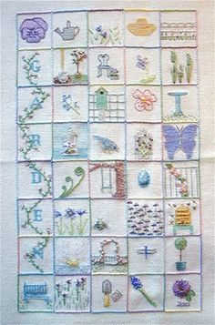 39 squares (like the multi-square word connected by vine) Embroidery Sampler, Silk Ribbon Embroidery, Cross Stitch Embroidery, Embroidery Patterns, Hand Embroidery, Machine Embroidery, Project Site, Stitch Book, Needlework