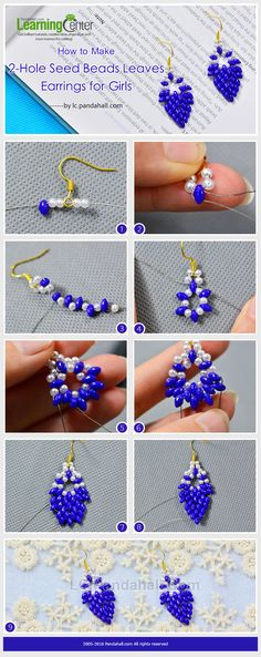 Tutorial on How to Make 2-Hole Seed Beads Leaves Earrings for Girls from LC.Pandahall.com ~ Seed Bead Tutorials