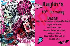Personalized Monster High Birthday Invite by SimplybyDrea on Etsy, $10.00 Monster High Birthday, Monster High Party, Custom Birthday Invitations, Party Invitations Kids, Monster High Invitations, 10th Birthday, Birthday Parties, Invite, Party Ideas