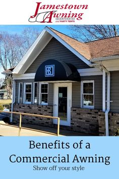 Jamestown Awning offers a variety of commercial awnings and awning solutions to meet your specific business needs. Call attention to your business by adding a bright and beautiful awning to light up your store front. Add your company logo for an extra flair. Awnings not only add curb appeal, they also keep your customers, employees and assets protected from the elements of the weather.
