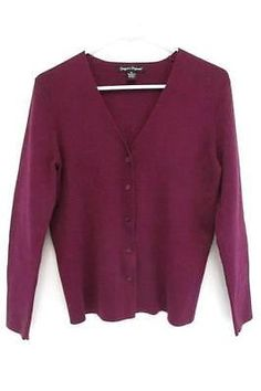 Coldwater Creek Purple Single Clasp Cardigan Sweater Beaded Trim ...