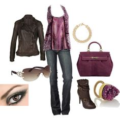 """""""Purple and Brown"""" by staceedawn on Polyvore"""