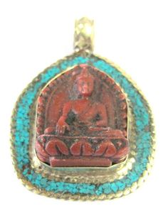 Tibetan red Buddha pendant with turquoise and brass inlay from Nepal - PS008C
