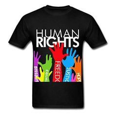 Amazon.com: JSTS Human Rights for Men's Funny T-Shirts Black: Clothing