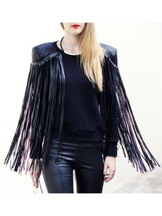 Faux Leatherette Fringed Sweater