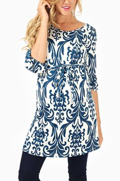 /navy-Blue-White-Printed-3/4-Sleeve-Belted-Maternity-Tunic