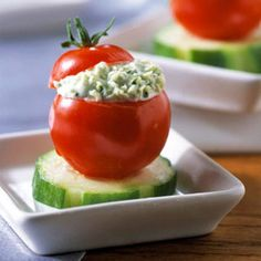 Herb-Stuffed Cherry Tomatoes #healthy food recipes under 300 calories