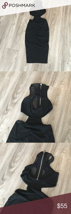 Nookie mesh top cutout LBD Only worn once - size 6 in Nookie fits like a 0/2 in US. Zipper mesh cutout top, show stopper!! Nookie Dresses Mini