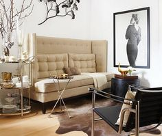 love the high back sofa...feels liked a banquette  Bar Cart