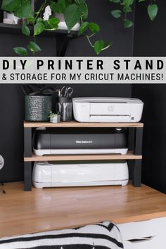 Looking for an easy DIY printer stand idea? I'm sharing what I made to maximize vertical space on a desktop, plus storage for my Cricut machines! DIY desk DIY Printer Stand and Storage for My Cricut Machines! Printer Storage, Printer Stand, Printer Cart, Craft Room Storage, Paper Storage, Craft Organization, Diy Storage Desk, Diy Desktop, Cricut Craft Room