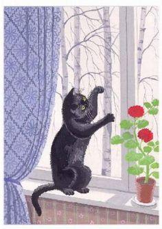 Painting of black cat. Tatyana Rodionova