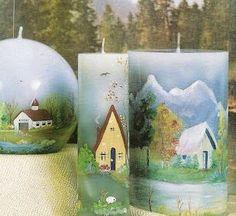 Blog de manualidades Gel Candles, Pillar Candles, Candle Art, Candels, Diy Tutorial, Snow Globes, Decoupage, Diy Crafts, Design