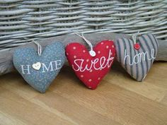 Pretty fabric hanging Hearts by Gisela Graham
