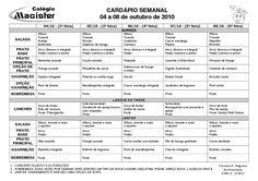Cardápio Mensal, Alimentação, Lista de Compras, Planejamento, Cardápio Semanal