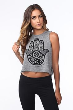 HAMSA EYE CROP TANK HEATHER GREY | Spiritual Gangster
