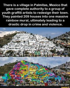 There is a village in Palmitas, Mexico that gave complete authority to a group of youth graffiti artists to redesign their town. They painted 209 houses into one massive rainbow mural, ultimately leading to a drastic drop in crime and violence. Cool Places To Visit, Places To Travel, Places To Go, Faith In Humanity Restored, Doja Cat, Wtf Fun Facts, Random Facts, The More You Know, Looks Cool
