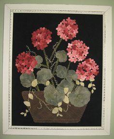 Geranium Beauty framed wool appliqué