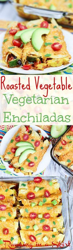 Healthy Vegetarian Roasted Vegetable Enchiladas recipe. Packed with fresh veggies (zucchini and squash!,) black beans and mexican spices! A simple, clean and skinny meal. Perfect for a quick vegetarian dinner idea or Meatless Monday. / Running in a Skirt