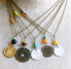 Bohemian coin necklace. charm necklace vintage coin yoga layering boho jewelry. Tiedupmemories