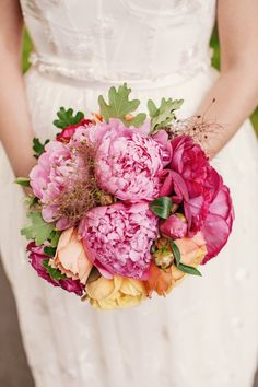 Bouquet of peonies, roses, oak leaves and?? <3
