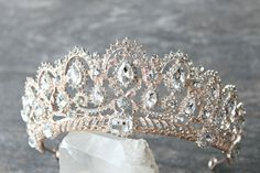 Bridal Tiara Crystal Rose Gold Tiara -BELLE Swarovski Bridal Tiara, Crystal Wedding Crown, Rhinestone Tiara, Wedding Tiara, Diamante Crown by EdenLuxeBridal on Etsy