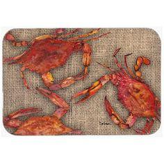 """Caroline's Treasures Cooked Crabs on Faux Burlap Kitchen/Bath Mat Size: 24"""" H x 36"""" W x 0.25"""" D"""