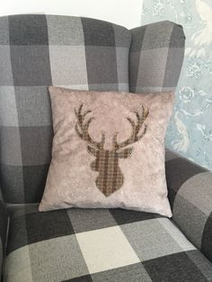 Excited to share the latest addition to my shop: Stag appliqué cushion Upholstery Fabric, Throw Pillows, Cushions, Fabric, Etsy, Christmas Traditions, Cushion Pads, Cushion Cover, Faux