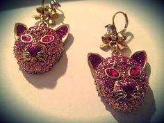 """Betsey Johnson pink """"cougar"""" earrings - a gift from Darcy upon the anniversary of my birth."""