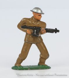 Barclay Manoil Lead Toy Soldier Dime Store Soldier Standing Black Machine rrjjr