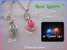 Boy Blue Pink Girl Baby Birth Gift Glow Lockets ™