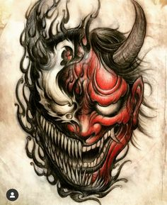 Hannya Mask Tattoo, Hanya Tattoo, Samurai Mask Tattoo, Venom Tattoo, Yakuza Tattoo, Tattoo Design Drawings, Tattoo Sleeve Designs, Tattoo Designs Men, Sleeve Tattoos