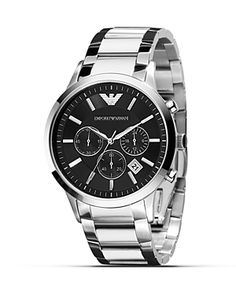 Emporio Armani Slim Black Watch with Steel Bracelet, 43mm