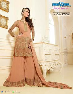 Add A Adolescent Burst Of Color Inside Your Wardrobe With This Peach Puff Faux Georgette Salwar Kameez. Beautified With Floral Patch, Lace, Resham Work All Synchronized Well With All The Trend And Style And Design Of The Attire. Paired With A Matching Bottom Comes With A Matching Dupatta  Visit: http://surateshop.com/product-details.php?cid=2_27_42&pid=8303&mid=0
