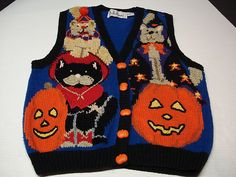 Halloween Cardigan Sweater Vest Bellepointe Blue Cat and Dog Costumes TrickTreat | eBay