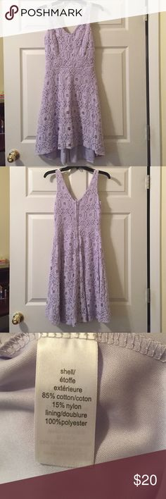Maurices Lace Dress This lavender lace dress is beautiful! Slight v-neck at front and back, zipper closure at back, and slight high-low hemline. Perfect for Easter or a spring school dance!! Maurices Dresses High Low