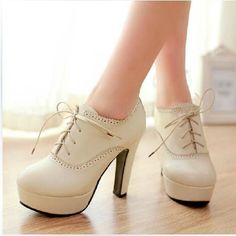 Sweet Lace-up High Heels, Cute and fashionable and great to go out in and so comfortable. <3