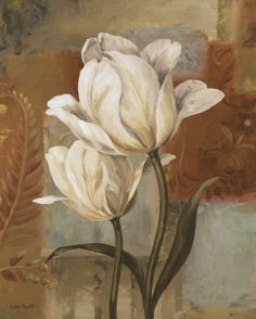 Lisa Audit 'Tulip Waltz Ii' Canvas Art - 35 x 47 Decoupage Vintage, Decoupage Paper, Arte Floral, Floral Wall, Artist Canvas, Fabric Painting, White Flowers, Flower Art, Canvas Wall Art
