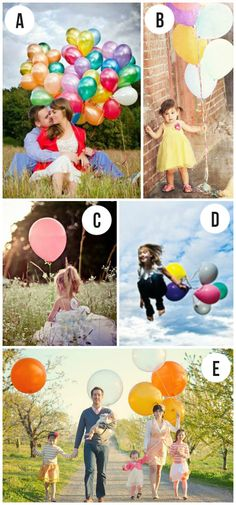 Balloons as a photo prop- fun idea!  This whole post is loaded with great photography ideas and examples.