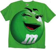 M&M M&M's Candy Green Silly Character Face Adult T-Shirt (Adult Medium)