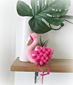 FLAMINGO plush wall decoration shelf ornament  pom pom