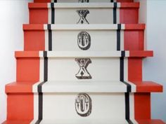 Custom painted XO staircase runner for DIY Network by Shannon Kaye